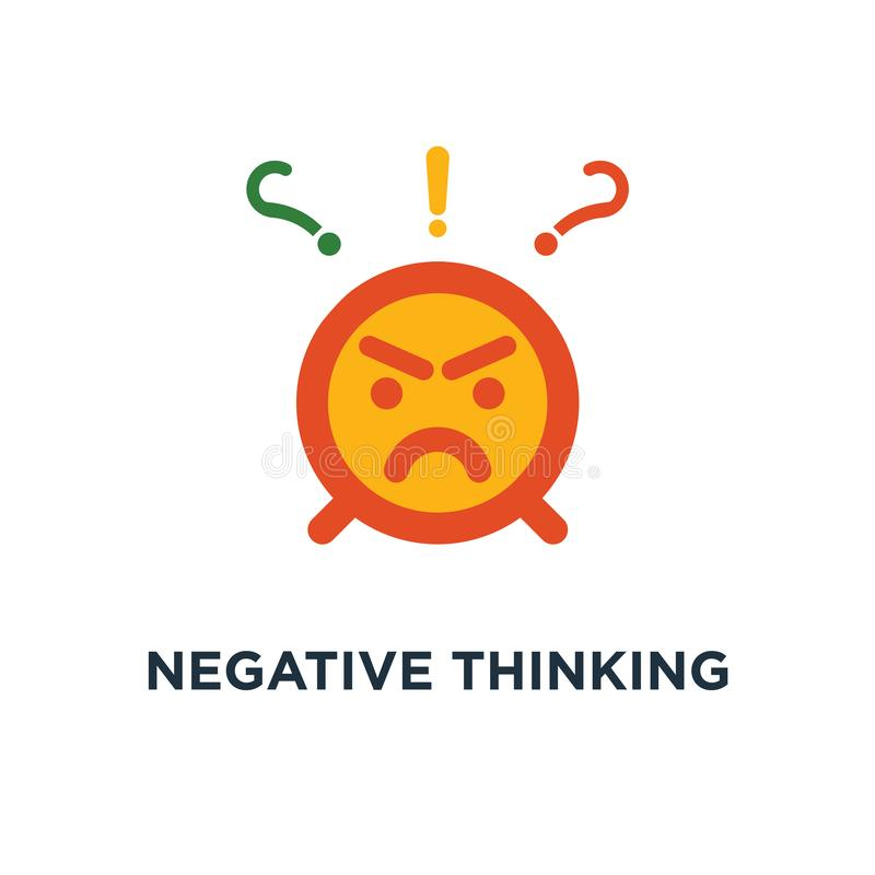 negative denkende Ikone schlechtes Erfahrungsfeedback, wütender Emoticonaufkleber, Hass und wütender Konzeptsymbolentwurf, unglüc lizenzfreie abbildung