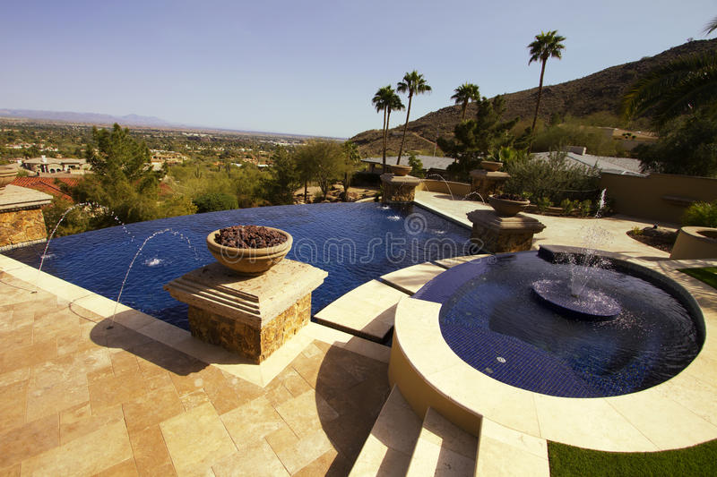 Download Negative Edge Modern Mansion Outdoor Swimming Pool Stock Photo - Image: 23766902