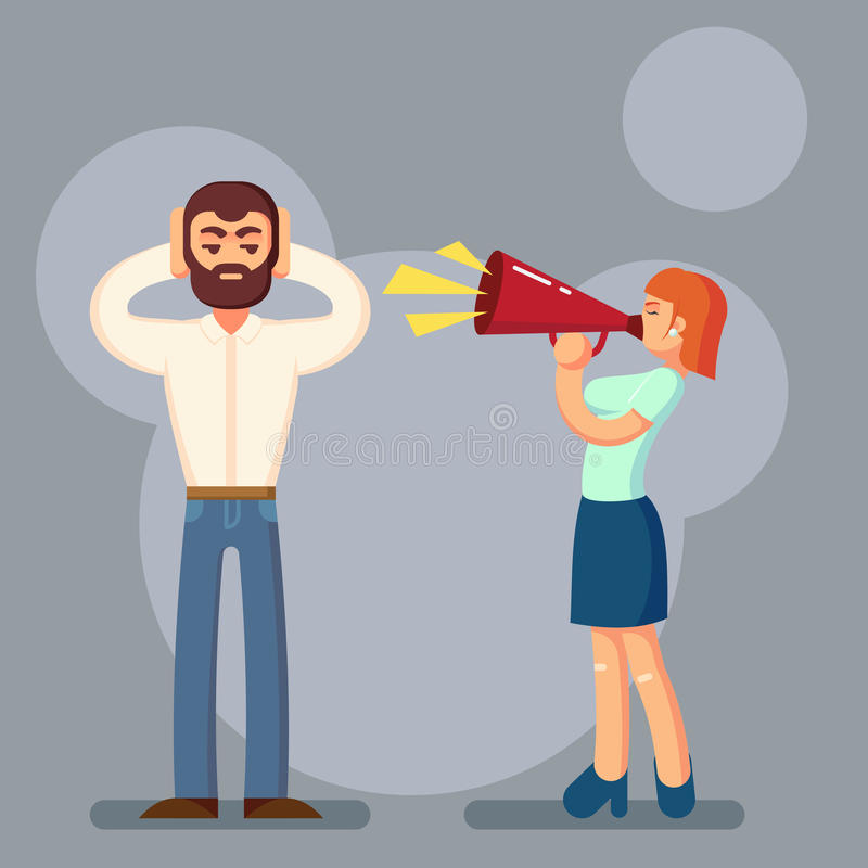 Negative emotions concept. People in fight. Husband and wife arguing yelling on each other. Expressive emotional couple having a vector illustration