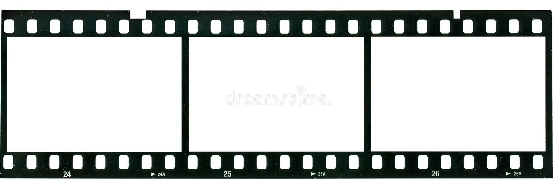 Negative Film. Three horizontal blank photo negatives stock images