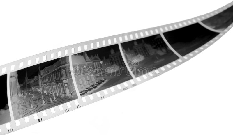 Negative film strip. In black and white stock photo