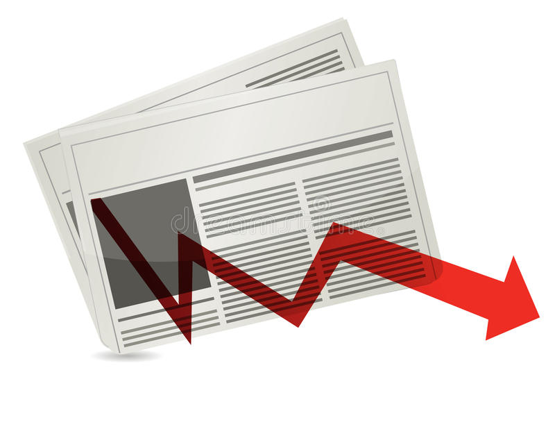 Negative Market newspaper results stock illustration