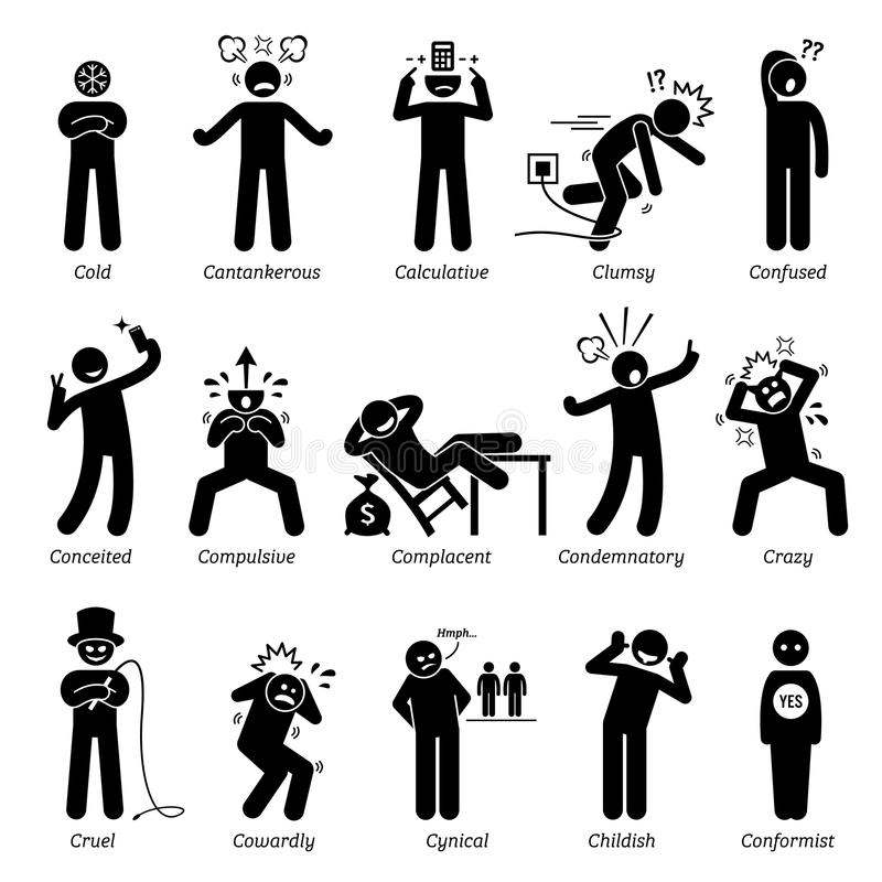 Negative Persönlichkeits-Charakterzüge Clipart vektor abbildung
