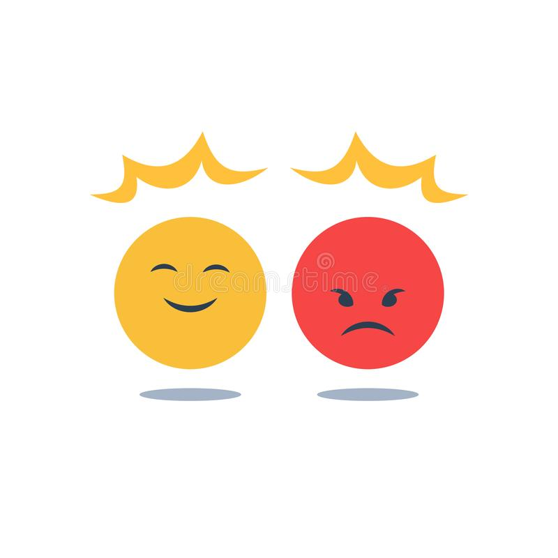 Negative or positive reaction, good or bad attitude, opposite opinion, mood swing, emotion control, smile or angry emoji. Negative or positive reaction, good or royalty free illustration