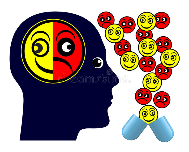 Negative Side Effects. Patient taking medication with negative aftereffects vector illustration