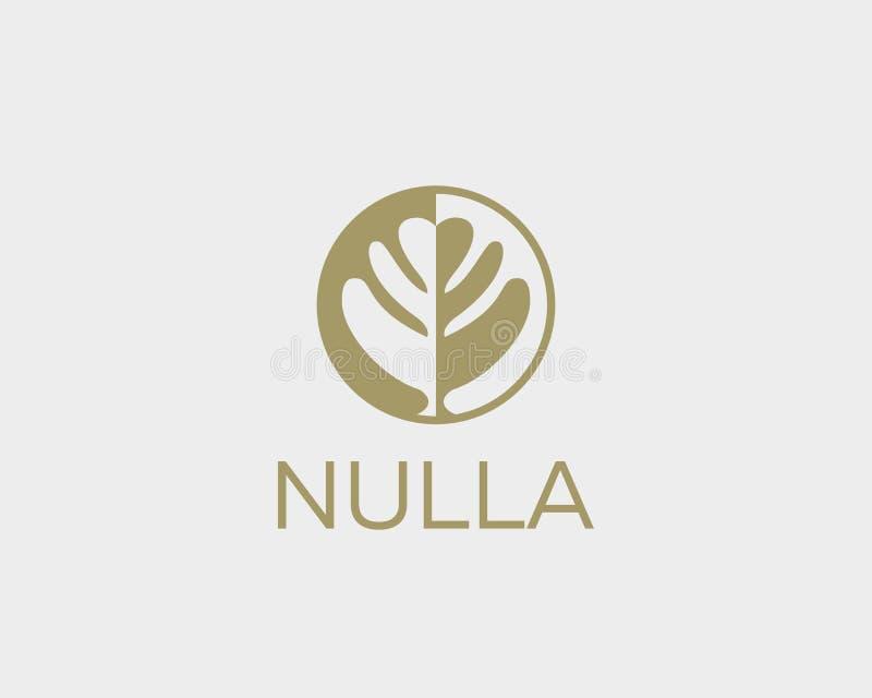 Negative space leaf shape. Circle tree logo design. Ecology universal vector icon. Nature product logotype. Negative space leaf shape. Circle tree logo design royalty free illustration