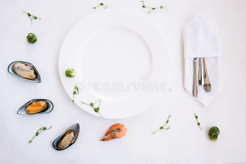 Negative space seafood advertisement royalty free stock photo