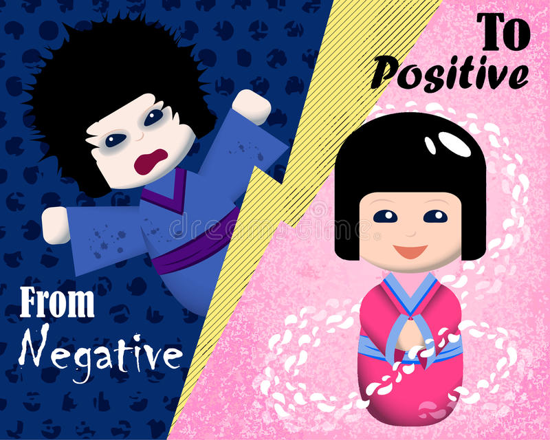 From negative to positive emotion illustration. Mood booster concept image. Japanese traditional kokeshi dolls in kimono. Emotional intelligence card royalty free illustration