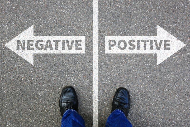 Negatives Positiv, das gutes schlechtes Gedankenhaltungsgeschäft c denkt stockbild