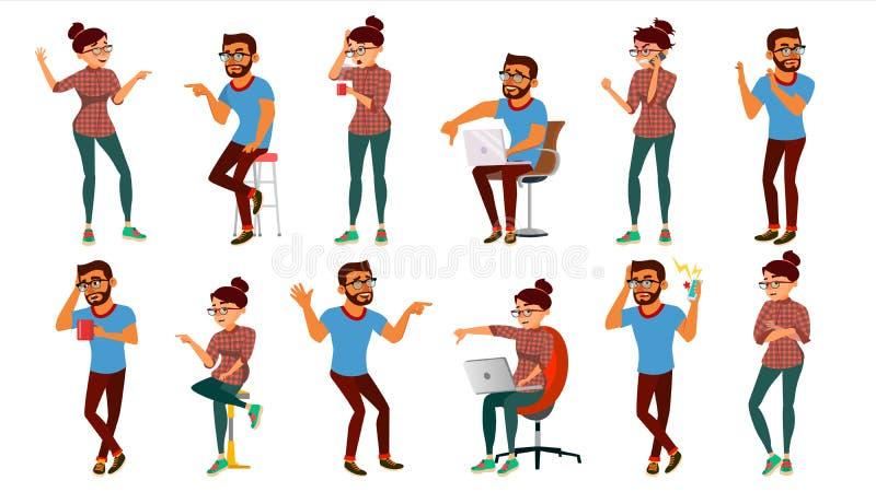 Negativiteit die Mensen Geplaatst uitdrukken Vector Mannelijk, Vrouwelijk Karakter Beduimelt neer Stemvinger gezichtspalm Sceptis vector illustratie