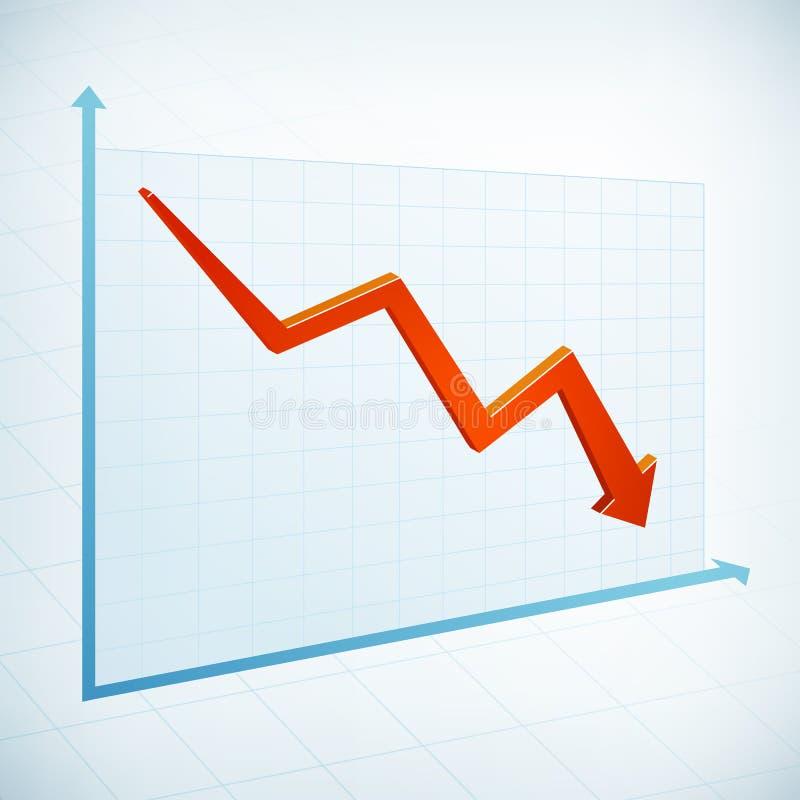 Negatywna biznesowego wykresu strzała ilustracja wektor