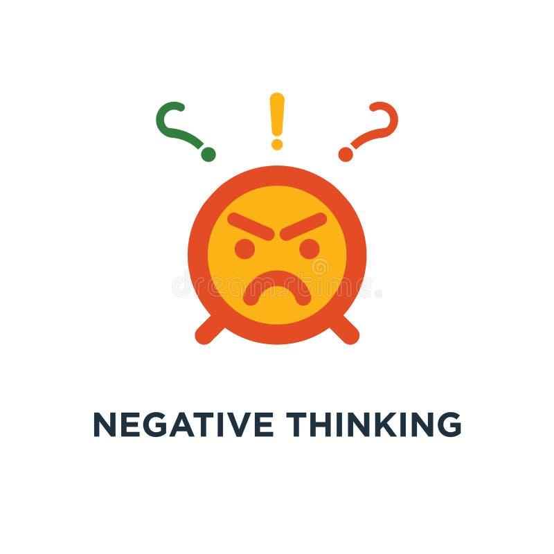 negatywna myśląca ikona zła doświadczenie informacje zwrotne, szalenie emoticon majcher, nienawiść i wściekły pojęcie symbolu pro royalty ilustracja
