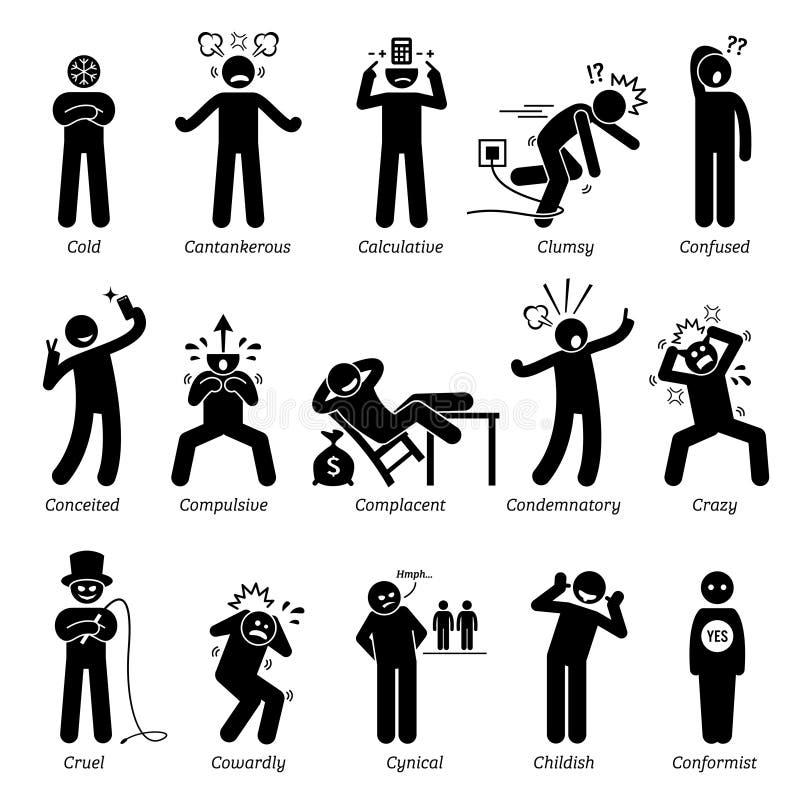 Negatywni osobowość charakteru znamiona Clipart ilustracja wektor