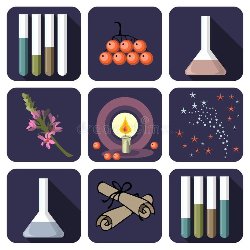 Negen alchemistische of parfumpictogrammen stock illustratie
