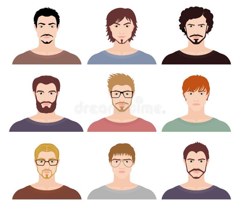 Negen avatars van maniermensen vector illustratie