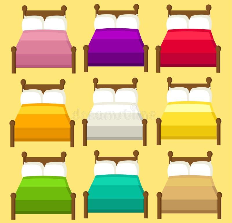 Negen bedden voor twee in 9 verschillende kleuren royalty-vrije illustratie