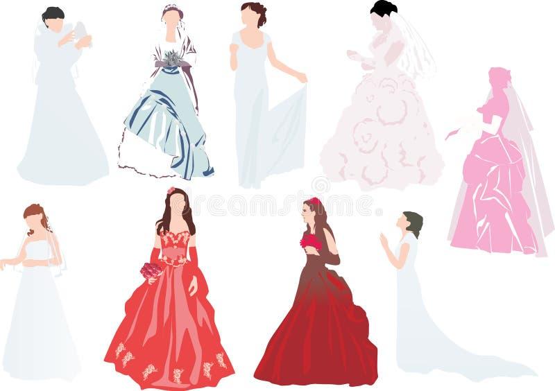 Negen bruiden op wit royalty-vrije illustratie