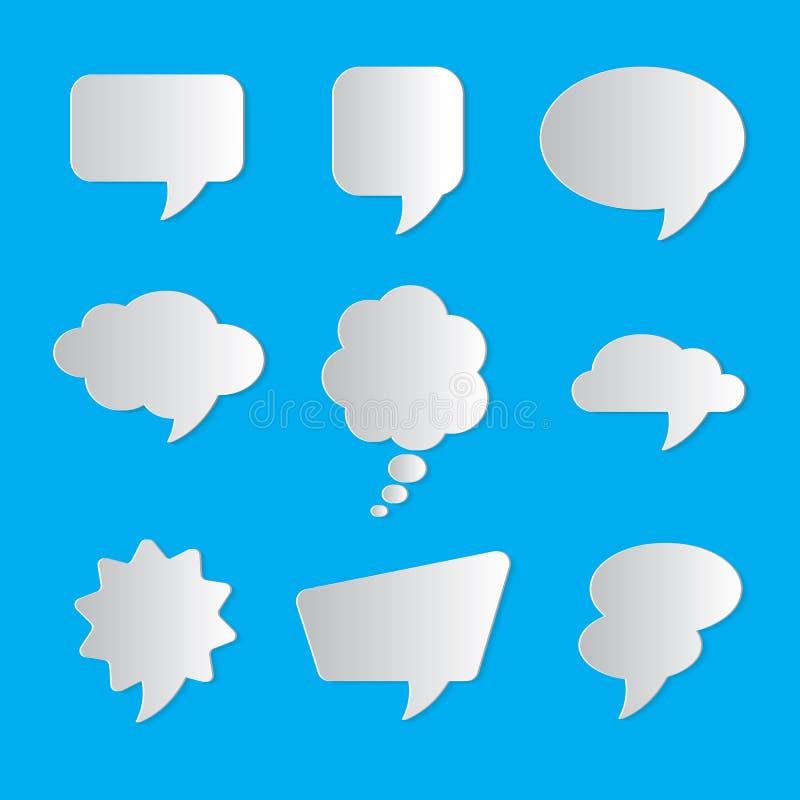 Negen dialoogdozen op blauwe achtergrond stock illustratie