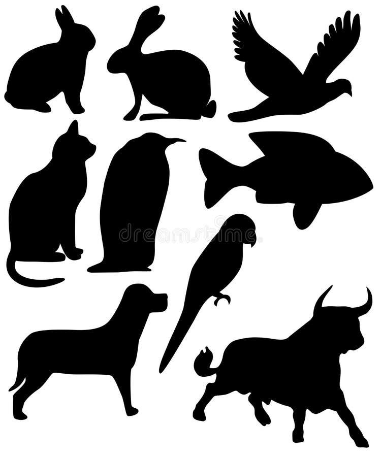 Negen dierenzwarte vector illustratie