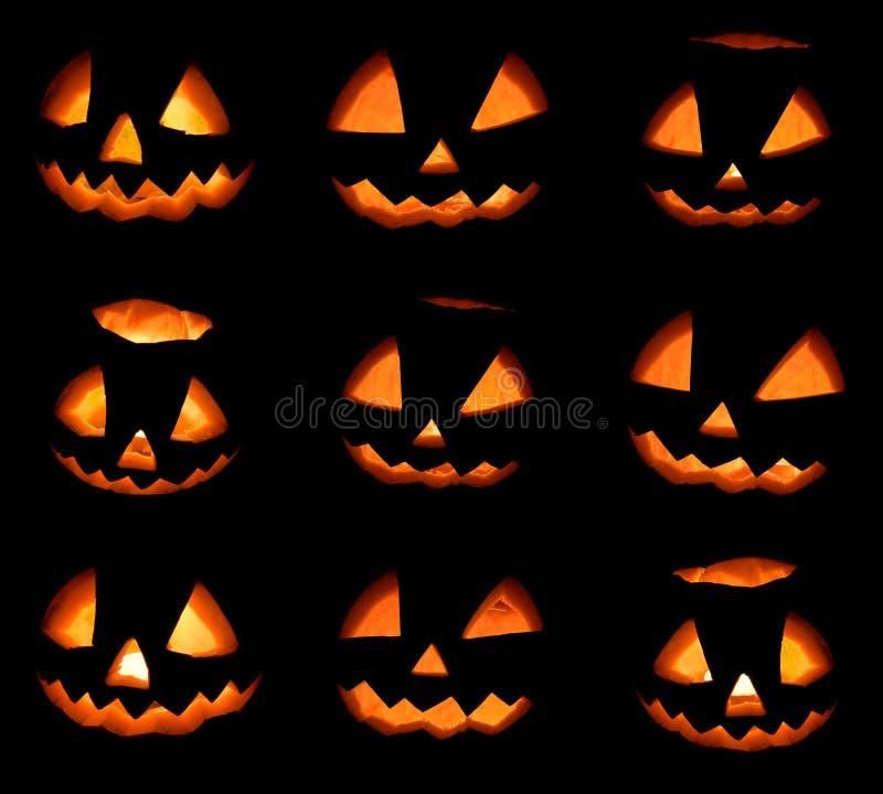 Negen Halloween-pompoenenkader op zwarte achtergrond stock foto's
