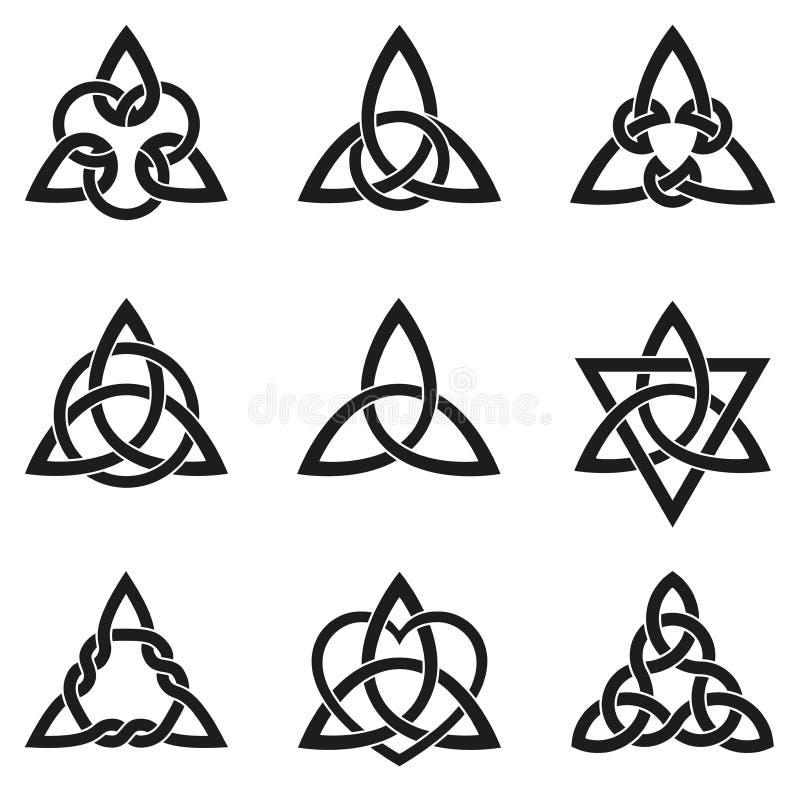 Negen Keltische Driehoeksknopen stock illustratie