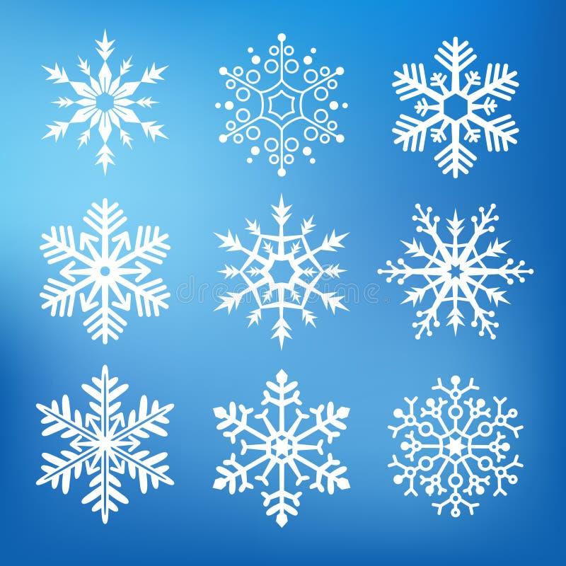 Negen leuke sneeuwvlokken royalty-vrije illustratie
