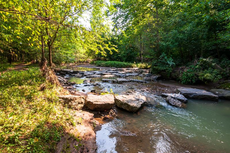Negen Mijllooppas, een stroom in Frick-Park, Pittsburgh, Pennsylvania, de V.S. royalty-vrije stock fotografie