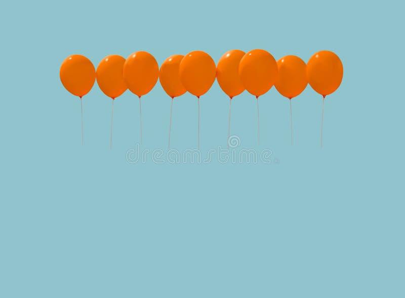 Negen oranje ballons royalty-vrije stock afbeeldingen