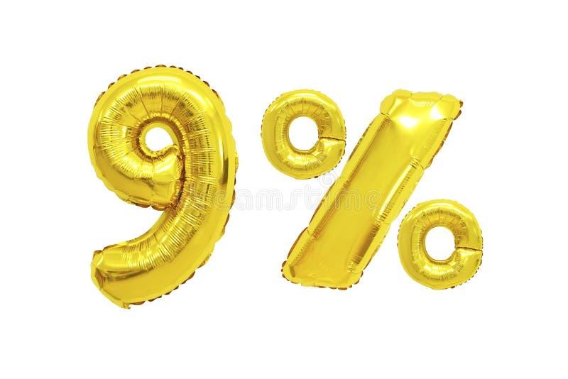 Negen percenten van ballons gouden kleur royalty-vrije stock afbeeldingen