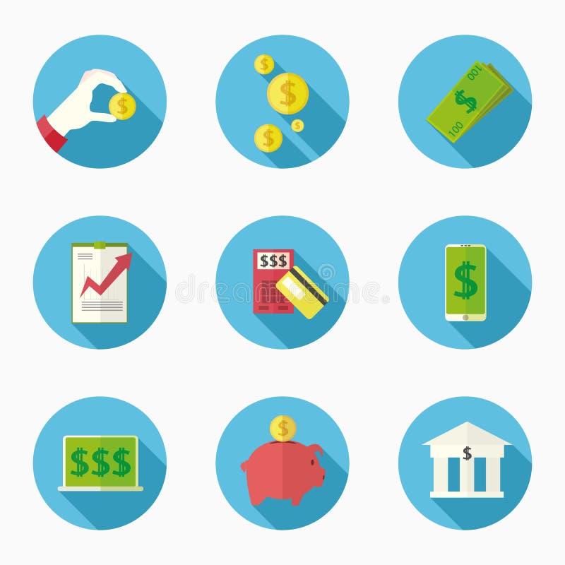 Negen pictogrammen voor wat betreft financiën royalty-vrije illustratie