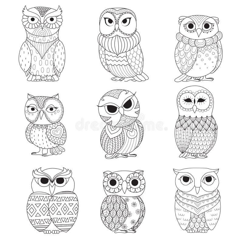 Negen uilenontwerp voor het kleuren van boek, tatoegering, overhemdsontwerp en andere decoratie vector illustratie