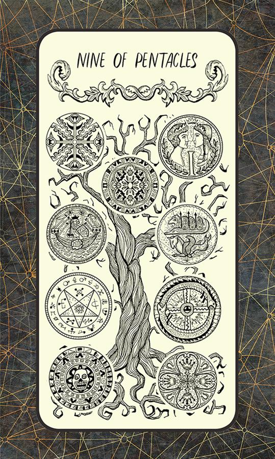 Negen van pentacles De Magische kaart van het Poorttarot vector illustratie