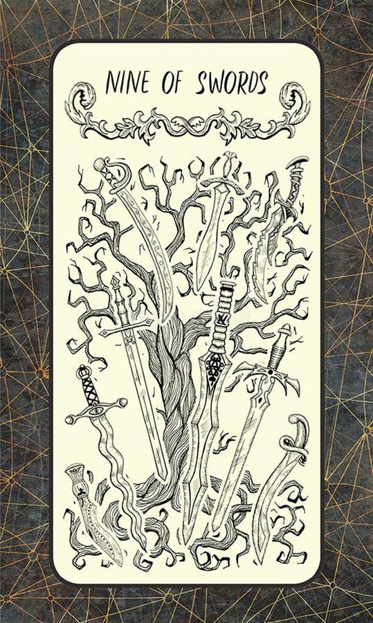 Negen van zwaarden De Magische kaart van het Poorttarot stock illustratie