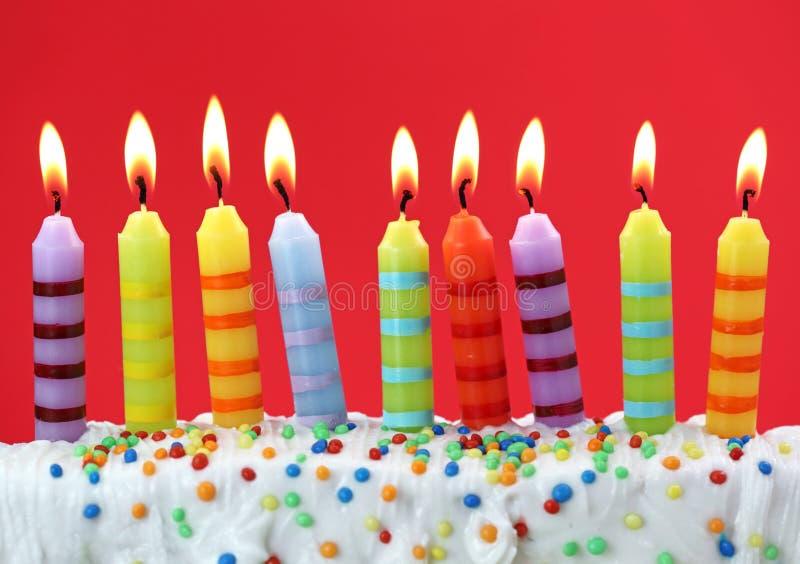 Negen verjaardagskaarsen royalty-vrije stock afbeeldingen