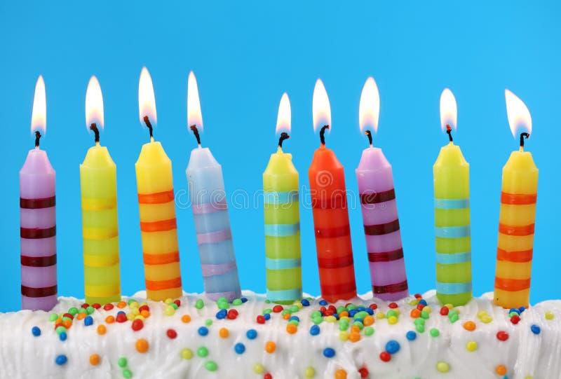 Negen verjaardagskaarsen royalty-vrije stock fotografie