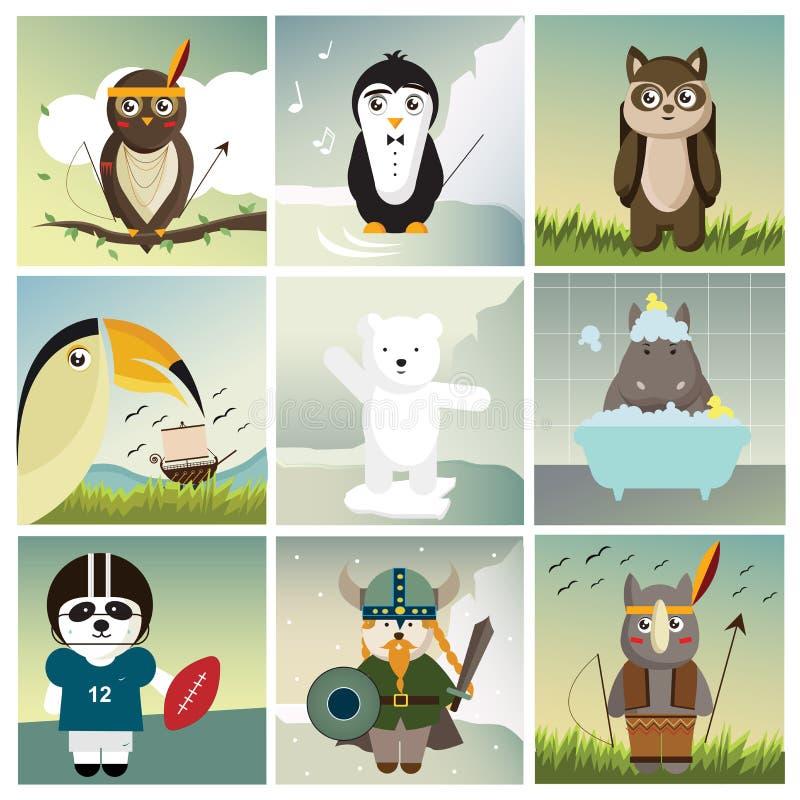 Negen verschillende dieren gekleed als mensen royalty-vrije illustratie