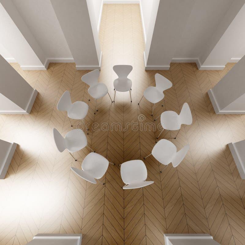 Negen witte stoelen in een cirkel stock illustratie