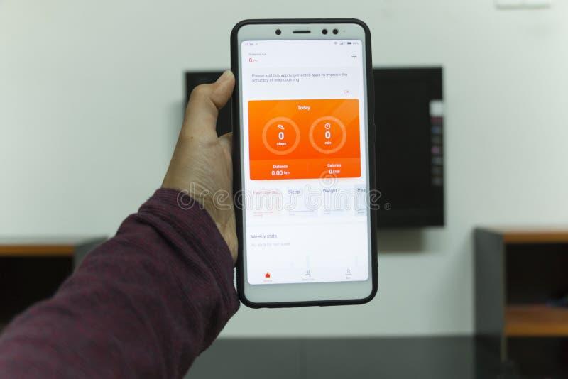 Negeri Sembilan, Малайзия - 30-ое августа 2018: Appli здоровья Samsung стоковые фотографии rf