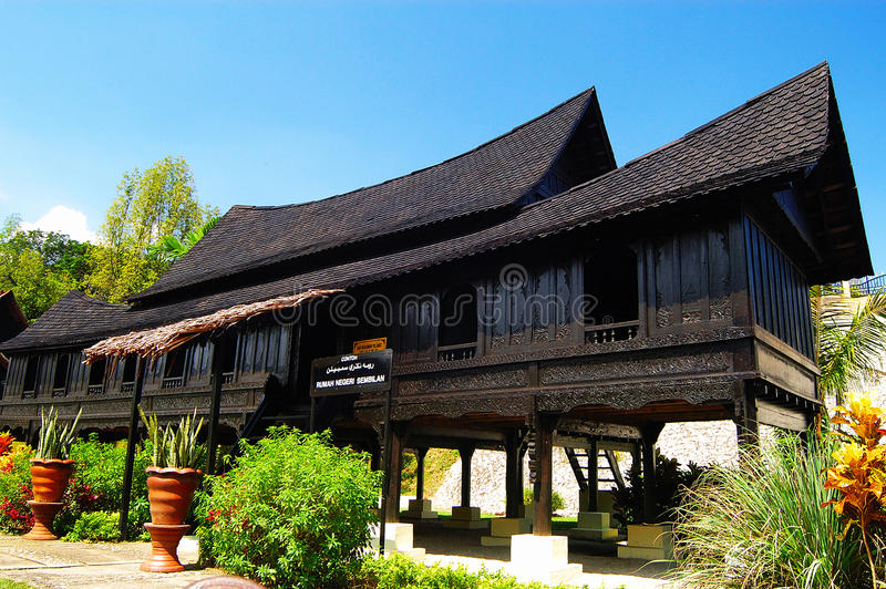 Negeri Sembilan Traditional House. The Minangkabau people migrated across the Straits of Malacca from Sumatra centuries ago and their traditional houses consist