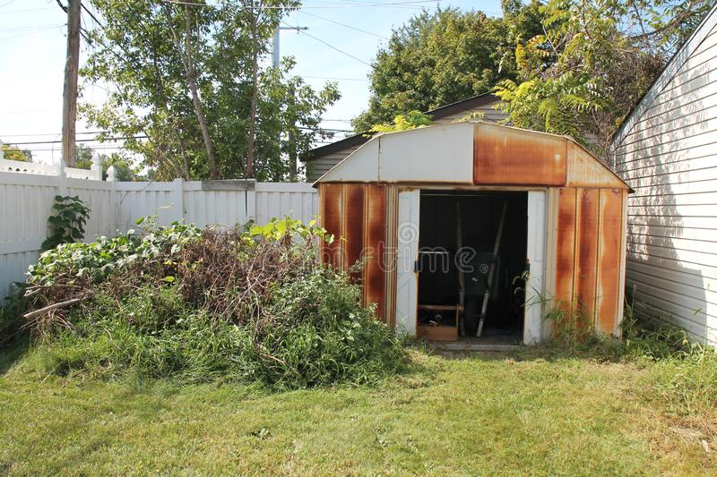 Neglected Backyard & Shed royalty free stock photos