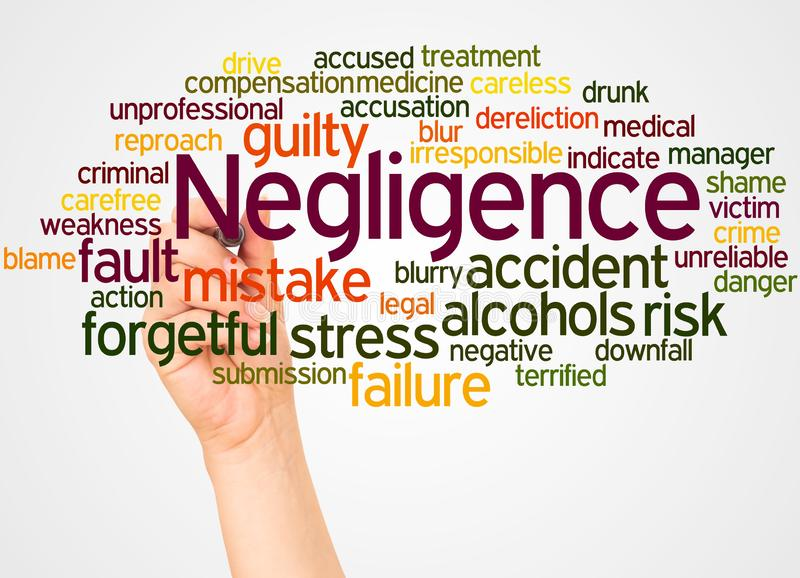 Negligence word cloud and hand with marker concept. On white background royalty free stock image