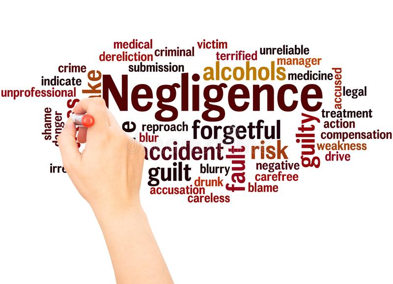 Negligence word cloud hand writing concept. On white background royalty free stock images