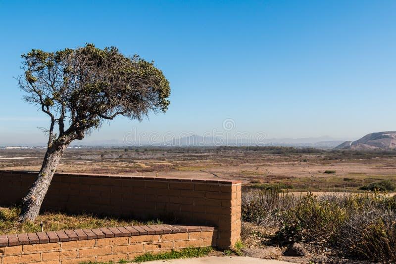 Negligenciando Tijuana Estuary em San Diego com montanhas fotos de stock royalty free