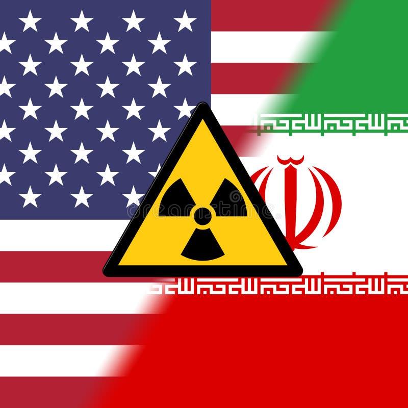 Negociação ou negociações nucleares do negócio de Irã com EUA - 2d ilustração ilustração royalty free