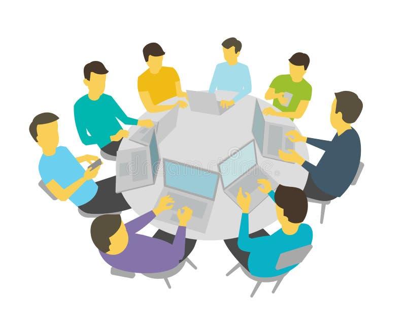 Negociações da mesa redonda Equipe dos estudantes do grupo de pessoas que tem a conferência da reunião Vetor branco da ilustração ilustração do vetor