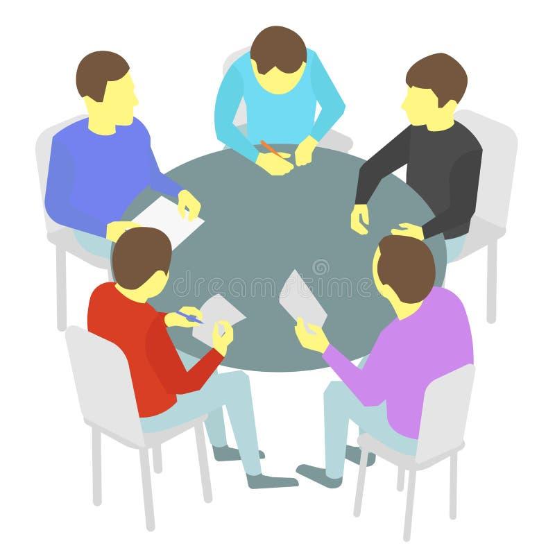 Negociações da mesa redonda Grupo de negócio Conferência da reunião da equipe de cinco povos ilustração stock