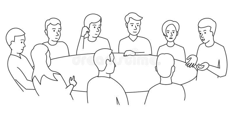 Negociações de mesa redonda Executivos da equipe que encontram povos da conferência nove Vetor branco da ilustração do estoque do ilustração do vetor