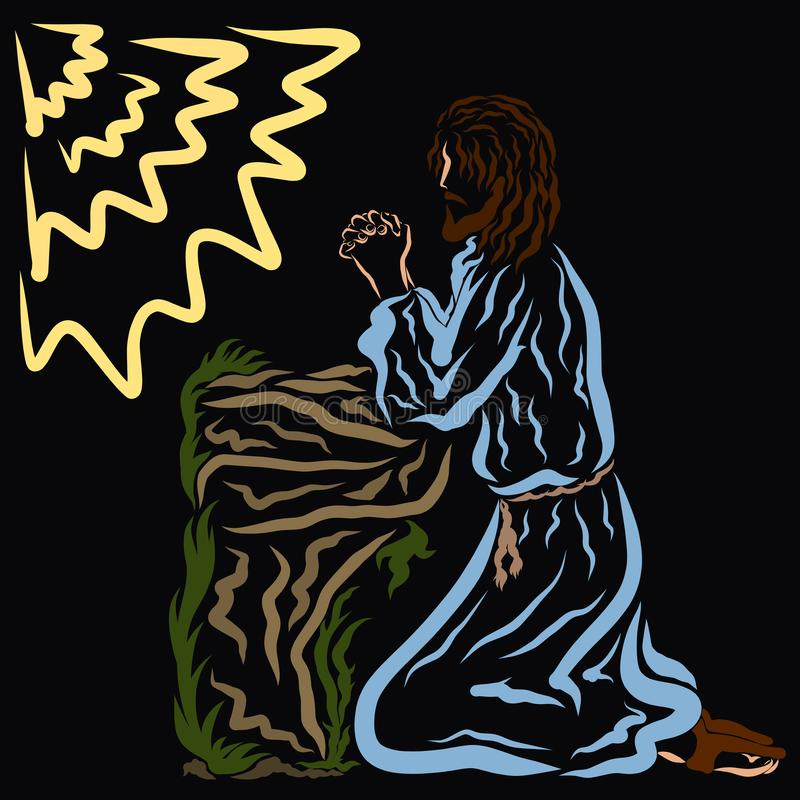Negociações do salvador ao deus o pai no jardim de Gethsemane fotos de stock royalty free