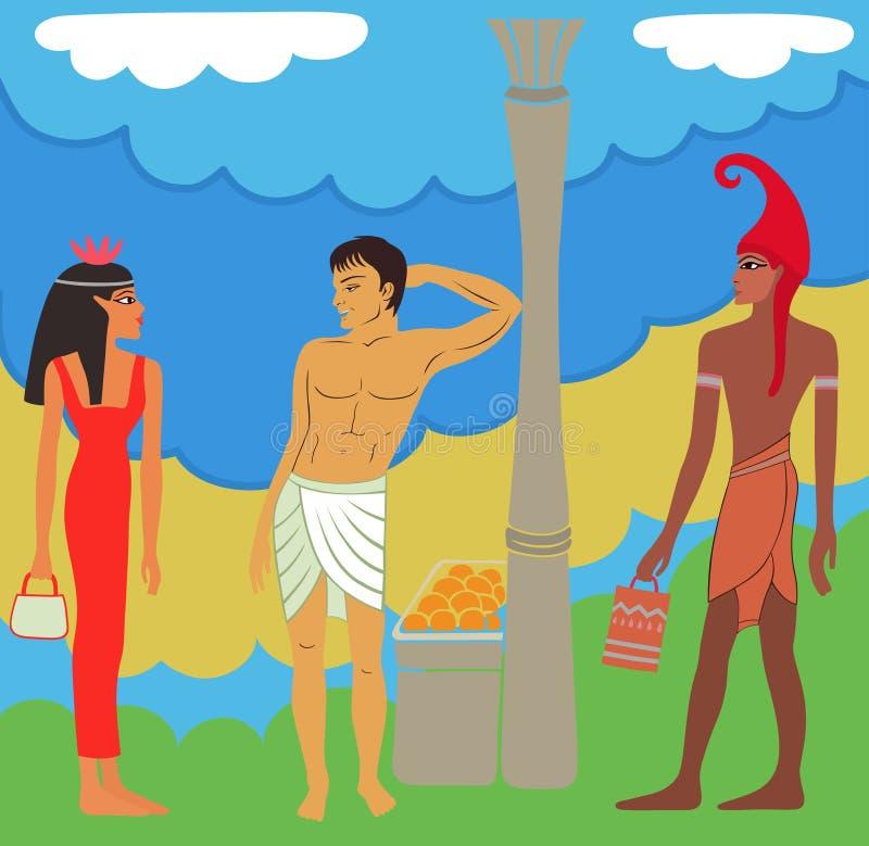 Negociações Egípcio-gregas antigas do mercado ilustração royalty free