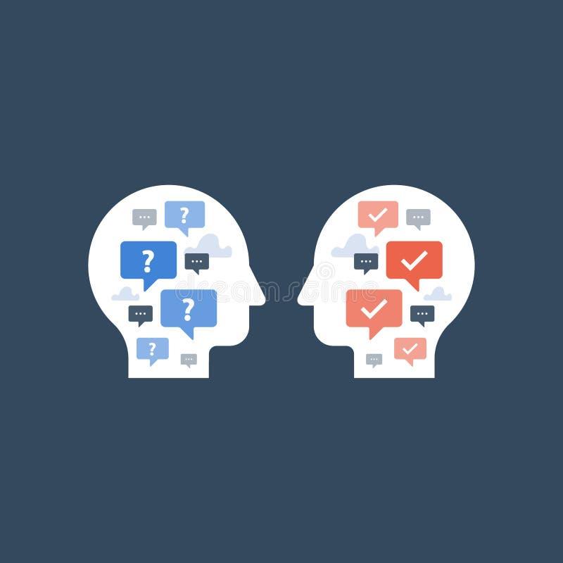 Negociación y compromiso, concepto de la comunicación, encuesta y cuestionario, bot de la charla, mentor y dirección stock de ilustración